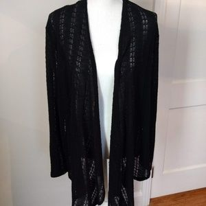 Black Open Front Lightweight Cardigan